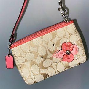 Coach tan flower shoulder bag